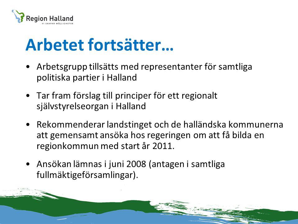 Arbetet fortsätter… •Arbetsgrupp tillsätts med representanter för samtliga politiska partier i Halland •Tar fram förslag till principer för ett region