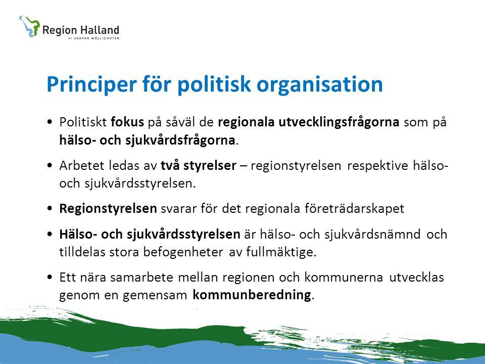 Principer för politisk organisation •Politiskt fokus på såväl de regionala utvecklingsfrågorna som på hälso- och sjukvårdsfrågorna. •Arbetet ledas av
