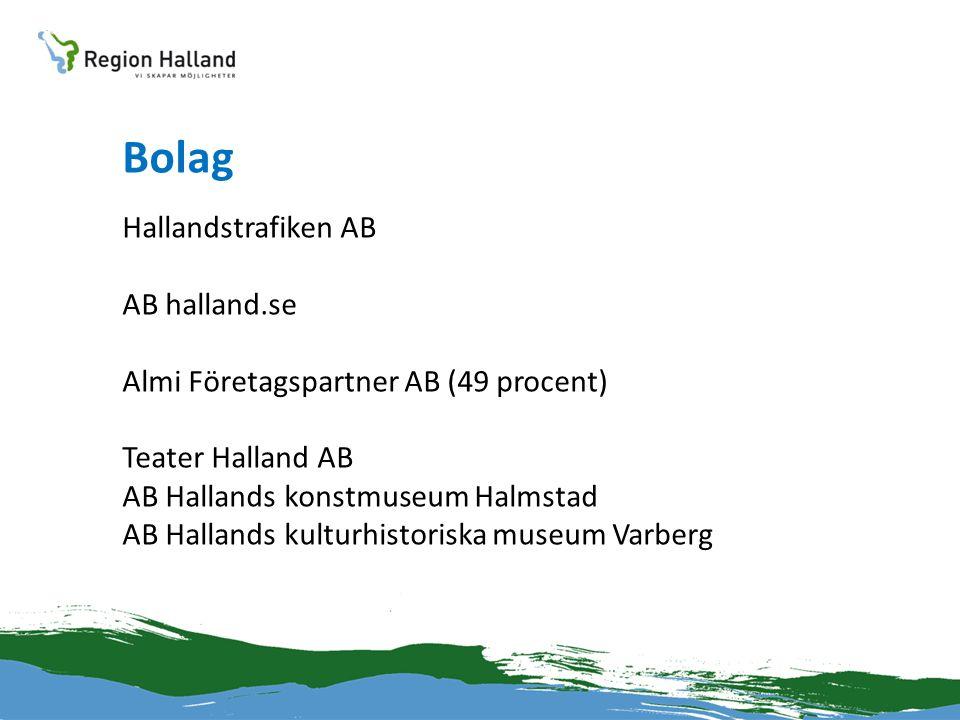 Bolag Hallandstrafiken AB AB halland.se Almi Företagspartner AB (49 procent) Teater Halland AB AB Hallands konstmuseum Halmstad AB Hallands kulturhist