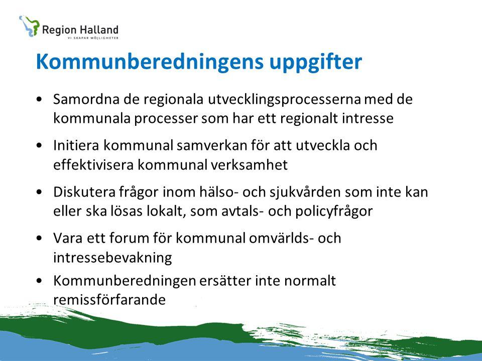 Kommunberedningens uppgifter •Samordna de regionala utvecklingsprocesserna med de kommunala processer som har ett regionalt intresse •Initiera kommuna