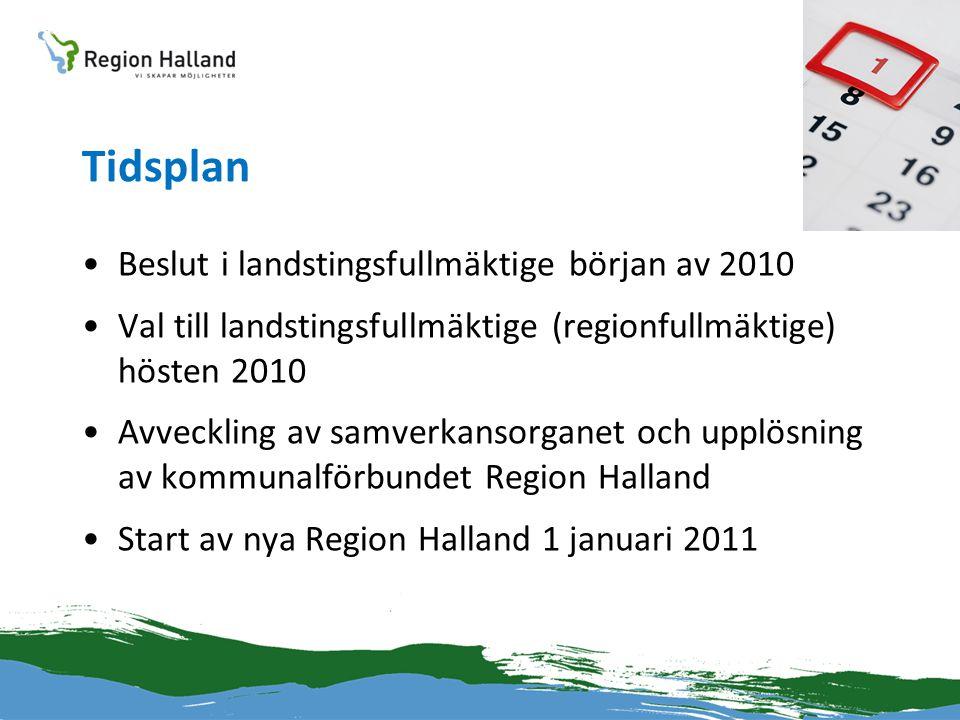Tidsplan •Beslut i landstingsfullmäktige början av 2010 •Val till landstingsfullmäktige (regionfullmäktige) hösten 2010 •Avveckling av samverkansorgan