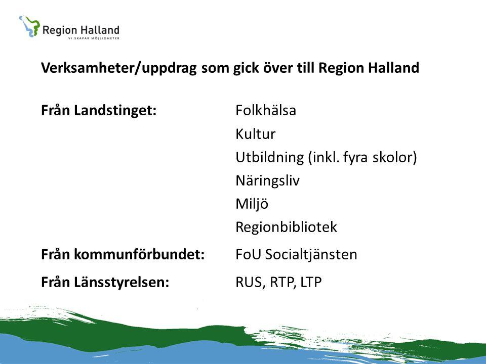 Verksamheter/uppdrag som gick över till Region Halland Från Landstinget:Folkhälsa Kultur Utbildning (inkl. fyra skolor) Näringsliv Miljö Regionbibliot