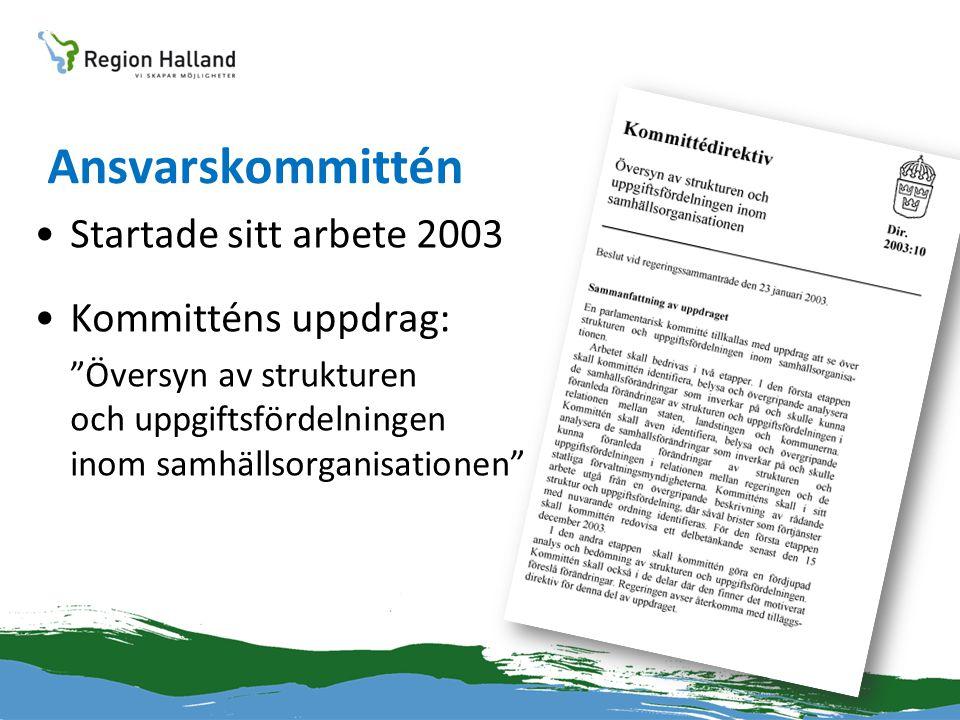 """Ansvarskommittén •Startade sitt arbete 2003 •Kommitténs uppdrag: """"Översyn av strukturen och uppgiftsfördelningen inom samhällsorganisationen"""""""