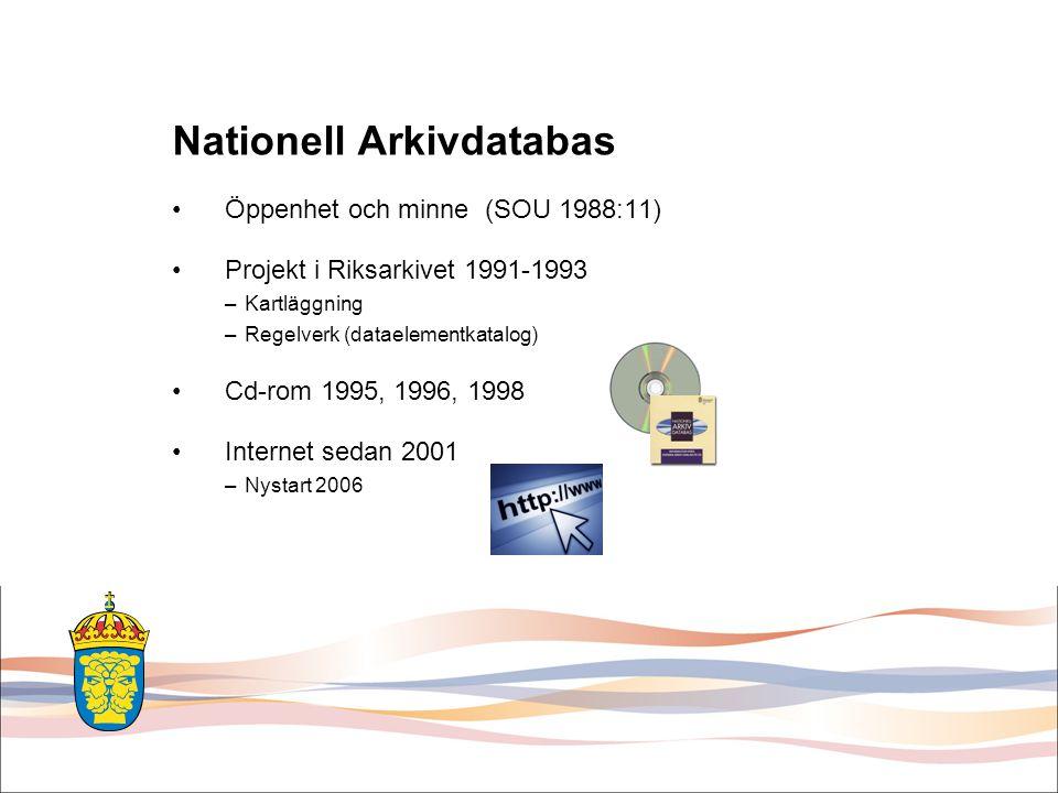 Nya NAD / SVAR Några exempel på funktioner som den nya söktjänsten kommer att innehålla: •Snabbare svarstider (ny programvara för indexering) •Samsökning i beståndsuppgifter och Riksarkivets/SVAR:s digitala register/databaser (t.ex.