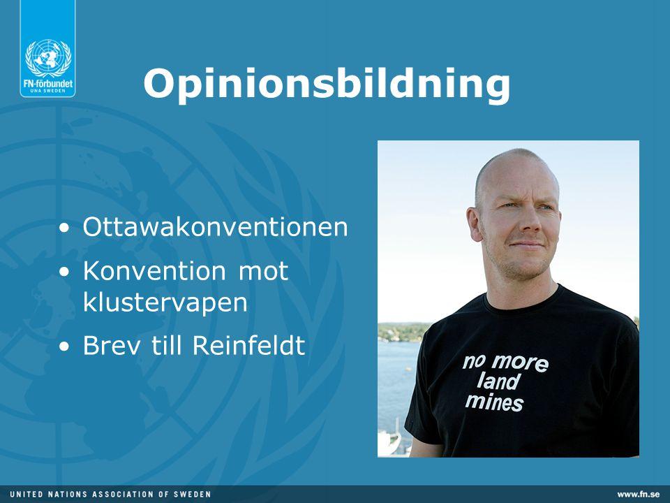 Opinionsbildning •Ottawakonventionen •Konvention mot klustervapen •Brev till Reinfeldt
