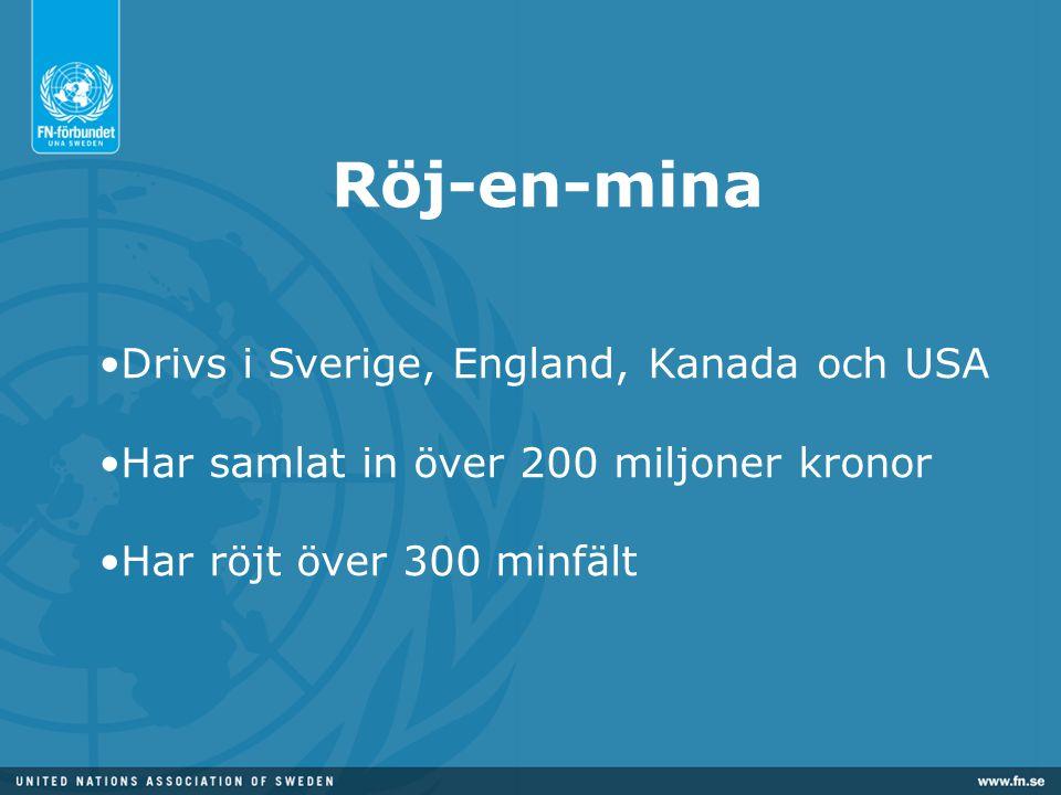 Röj-en-mina •Drivs i Sverige, England, Kanada och USA •Har samlat in över 200 miljoner kronor •Har röjt över 300 minfält