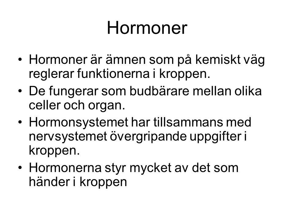 Hormoner •Hormoner är ämnen som på kemiskt väg reglerar funktionerna i kroppen. •De fungerar som budbärare mellan olika celler och organ. •Hormonsyste