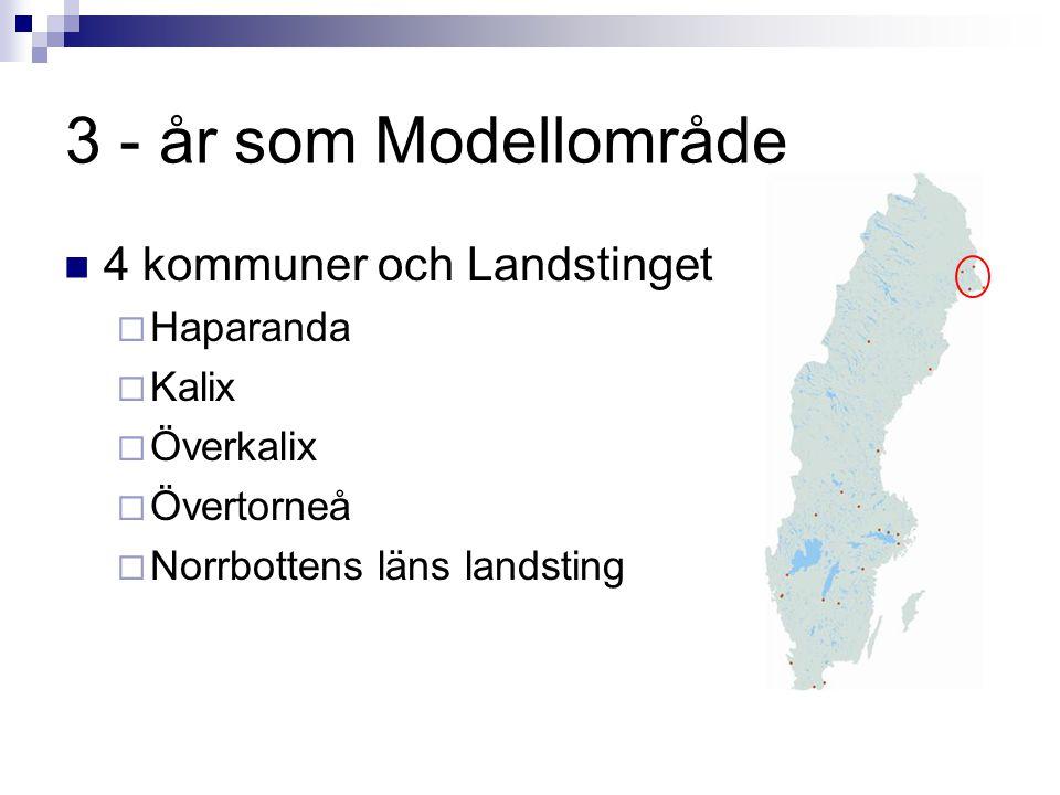 3 - år som Modellområde  4 kommuner och Landstinget  Haparanda  Kalix  Överkalix  Övertorneå  Norrbottens läns landsting