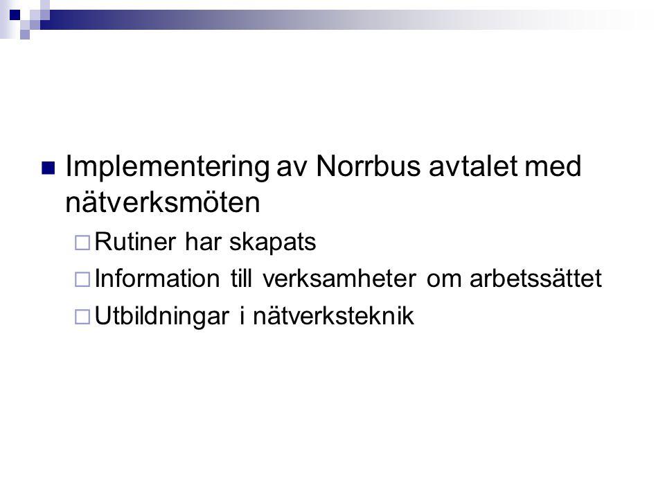  Implementering av Norrbus avtalet med nätverksmöten  Rutiner har skapats  Information till verksamheter om arbetssättet  Utbildningar i nätverksteknik