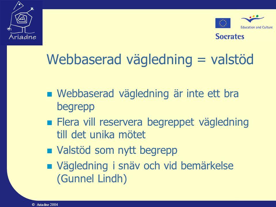 © Ariadne 2004 Webbaserad vägledning = valstöd  Webbaserad vägledning är inte ett bra begrepp  Flera vill reservera begreppet vägledning till det un