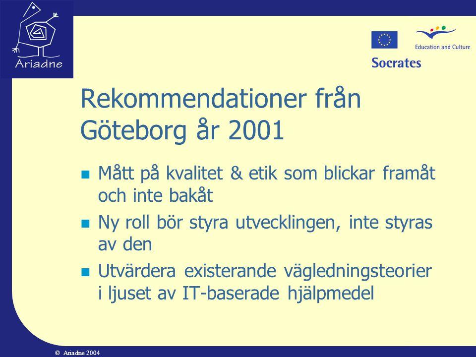 © Ariadne 2004 Rekommendationer från Göteborg år 2001  Mått på kvalitet & etik som blickar framåt och inte bakåt  Ny roll bör styra utvecklingen, in
