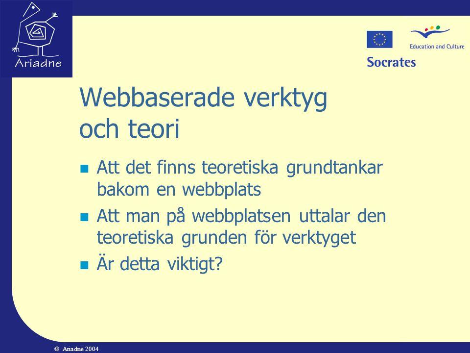 © Ariadne 2004 Webbaserade verktyg och teori  Att det finns teoretiska grundtankar bakom en webbplats  Att man på webbplatsen uttalar den teoretiska