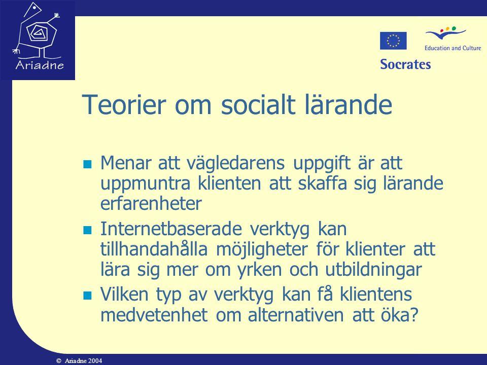 © Ariadne 2004 Teorier om socialt lärande  Menar att vägledarens uppgift är att uppmuntra klienten att skaffa sig lärande erfarenheter  Internetbase