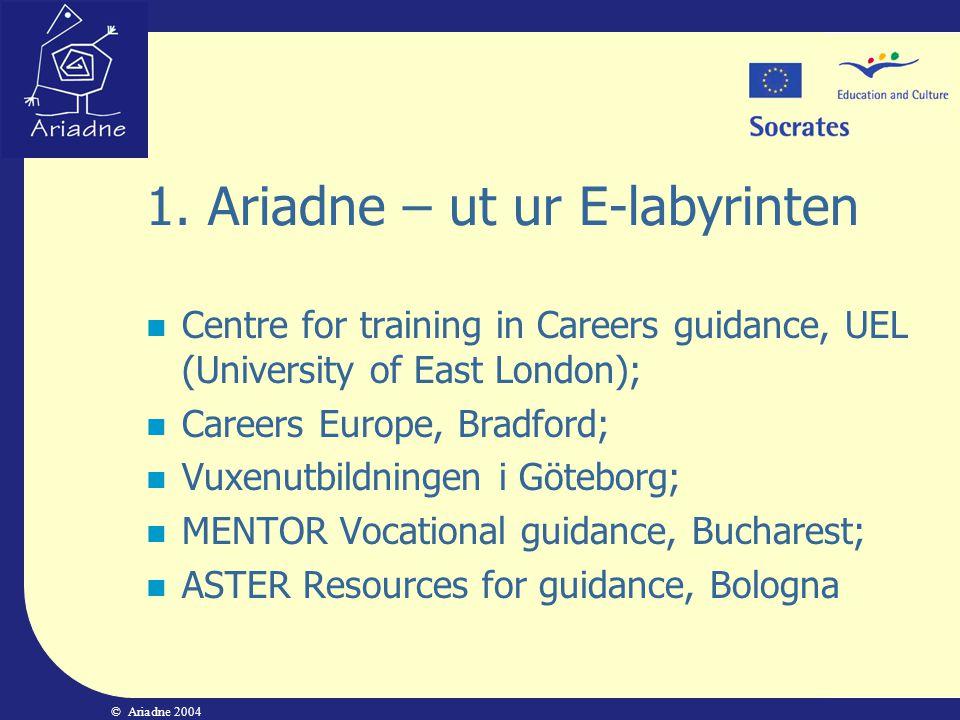 © Ariadne 2004 3.Praktiska övningar Ett bedömningsschema av webbplatser:  Verkar den pålitlig.
