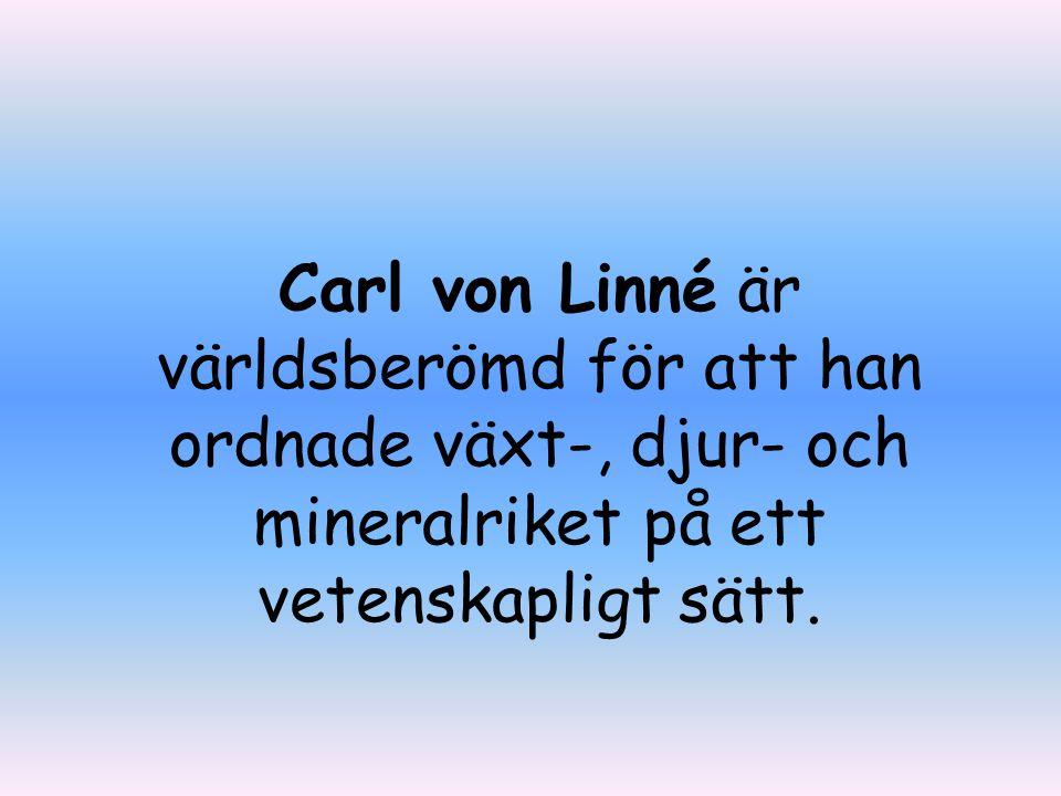 Här är ett frimärke med Linné på.