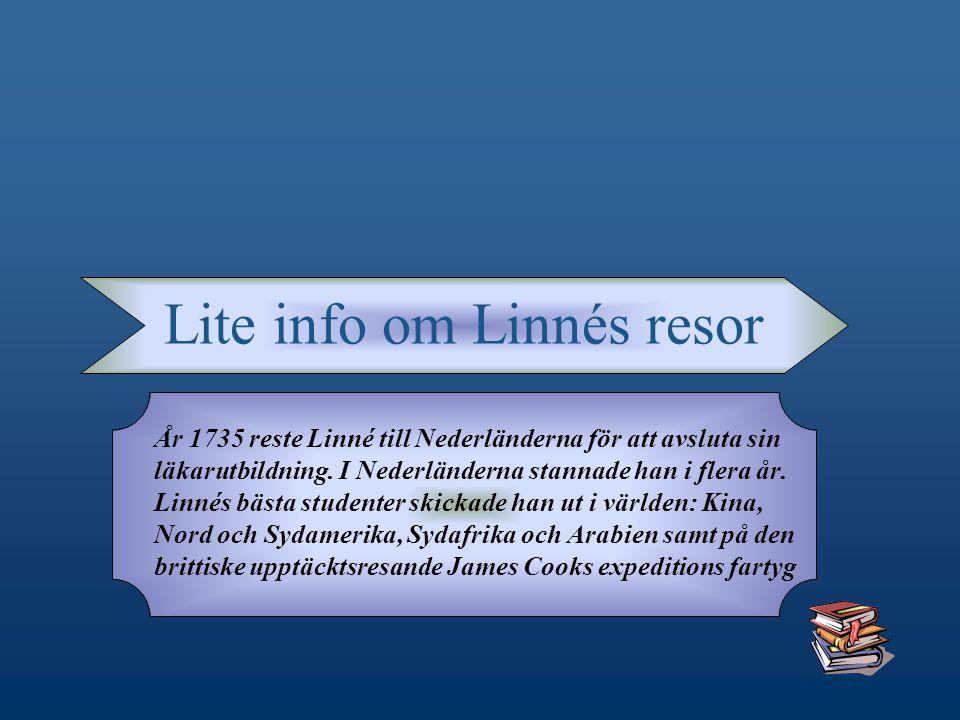 Lite info om Linnés resor År 1735 reste Linné till Nederländerna för att avsluta sin läkarutbildning.