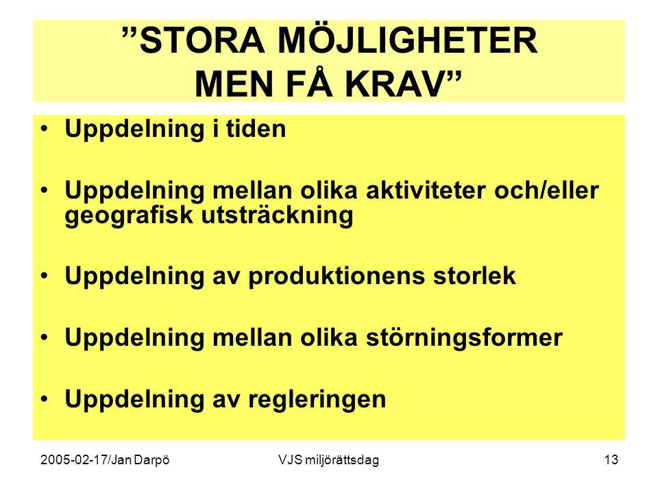 """2005-02-17/Jan DarpöVJS miljörättsdag13 """"STORA MÖJLIGHETER MEN FÅ KRAV"""" •Uppdelning i tiden •Uppdelning mellan olika aktiviteter och/eller geografisk"""