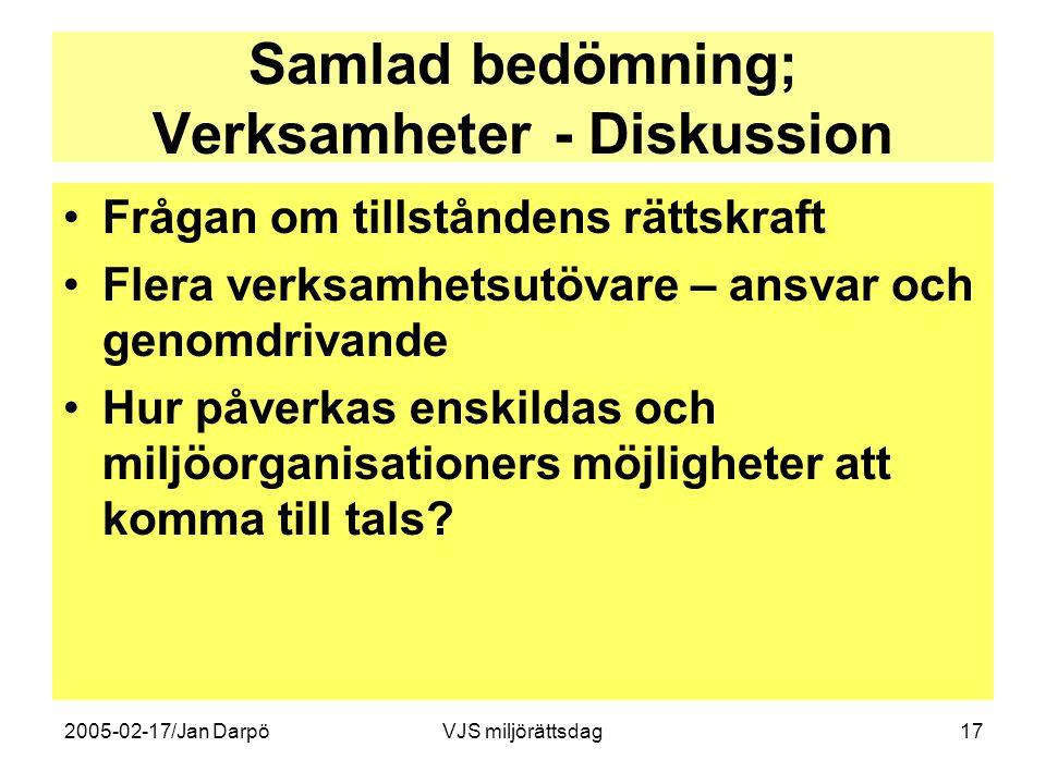 2005-02-17/Jan DarpöVJS miljörättsdag17 Samlad bedömning; Verksamheter - Diskussion •Frågan om tillståndens rättskraft •Flera verksamhetsutövare – ans