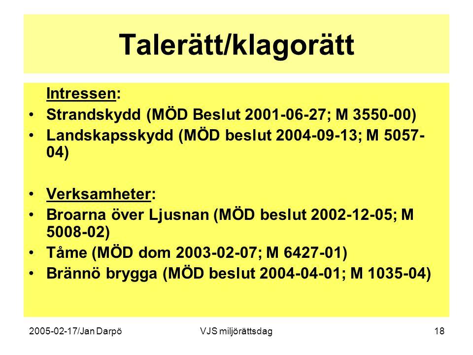 2005-02-17/Jan DarpöVJS miljörättsdag18 Talerätt/klagorätt Intressen: •Strandskydd (MÖD Beslut 2001-06-27; M 3550-00) •Landskapsskydd (MÖD beslut 2004