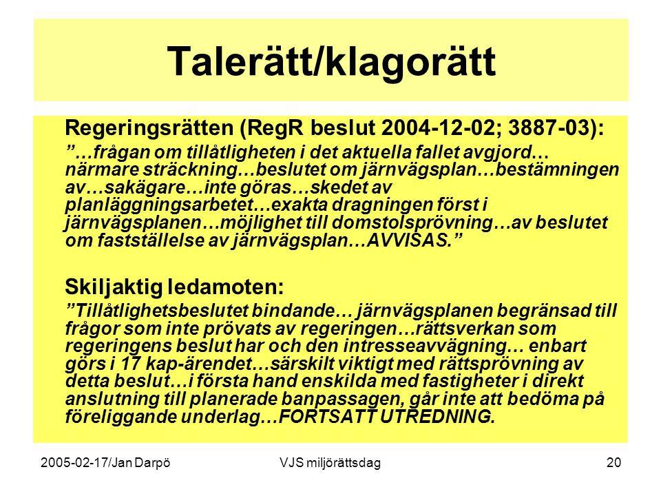 """2005-02-17/Jan DarpöVJS miljörättsdag20 Talerätt/klagorätt Regeringsrätten (RegR beslut 2004-12-02; 3887-03): """"…frågan om tillåtligheten i det aktuell"""