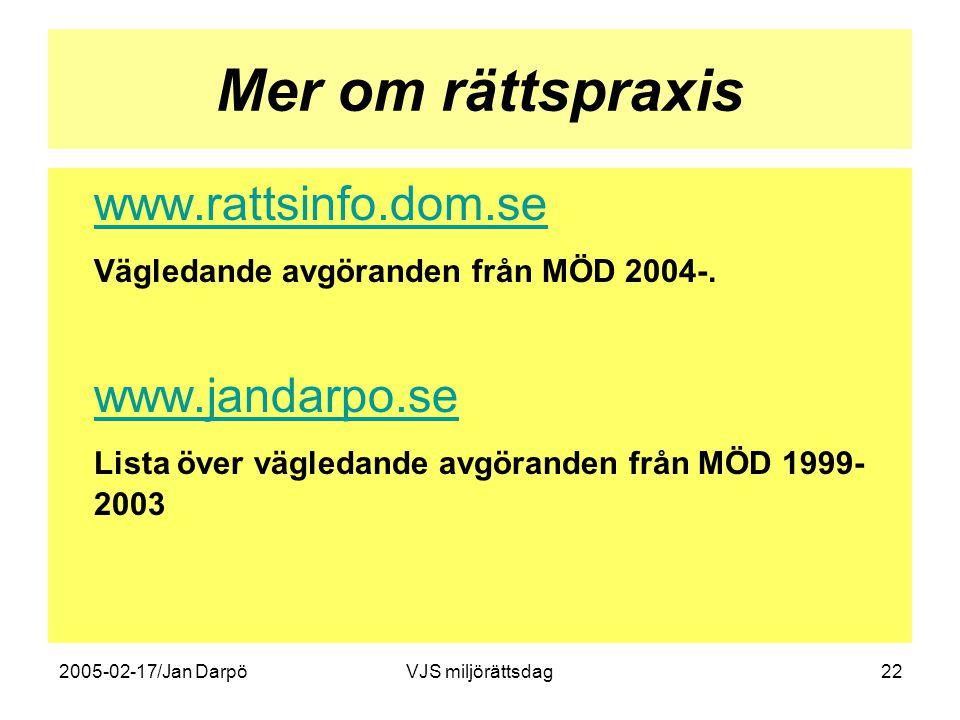 2005-02-17/Jan DarpöVJS miljörättsdag22 Mer om rättspraxis www.rattsinfo.dom.se Vägledande avgöranden från MÖD 2004-. www.jandarpo.se Lista över vägle
