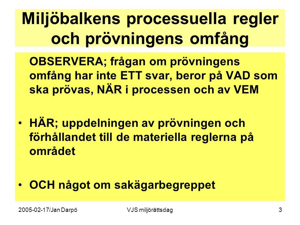 2005-02-17/Jan DarpöVJS miljörättsdag3 Miljöbalkens processuella regler och prövningens omfång OBSERVERA; frågan om prövningens omfång har inte ETT sv