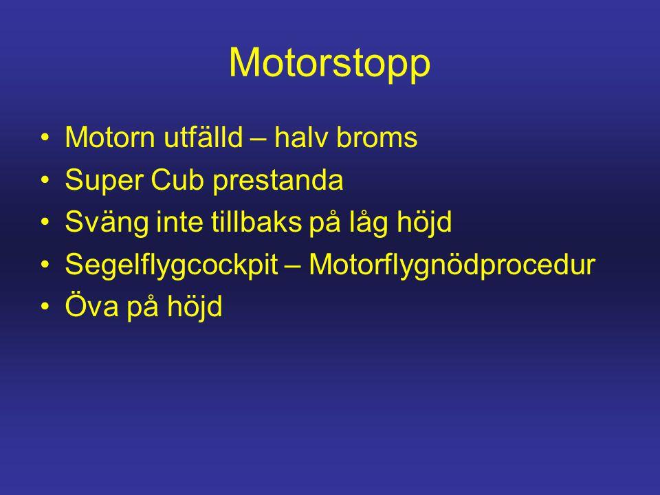 Motorstopp •Motorn utfälld – halv broms •Super Cub prestanda •Sväng inte tillbaks på låg höjd •Segelflygcockpit – Motorflygnödprocedur •Öva på höjd
