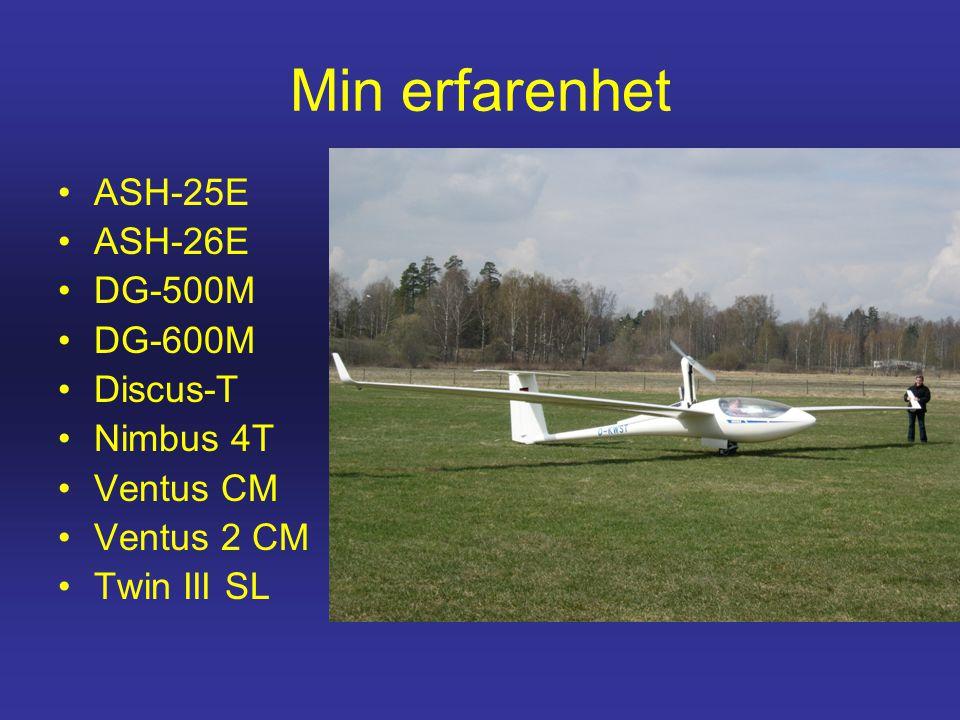 Min erfarenhet •ASH-25E •ASH-26E •DG-500M •DG-600M •Discus-T •Nimbus 4T •Ventus CM •Ventus 2 CM •Twin III SL