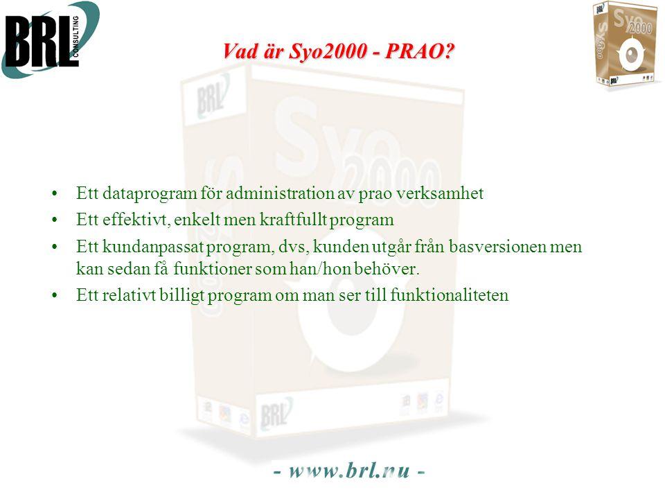 Vad är Syo2000 - PRAO? •Ett dataprogram för administration av prao verksamhet •Ett effektivt, enkelt men kraftfullt program •Ett kundanpassat program,