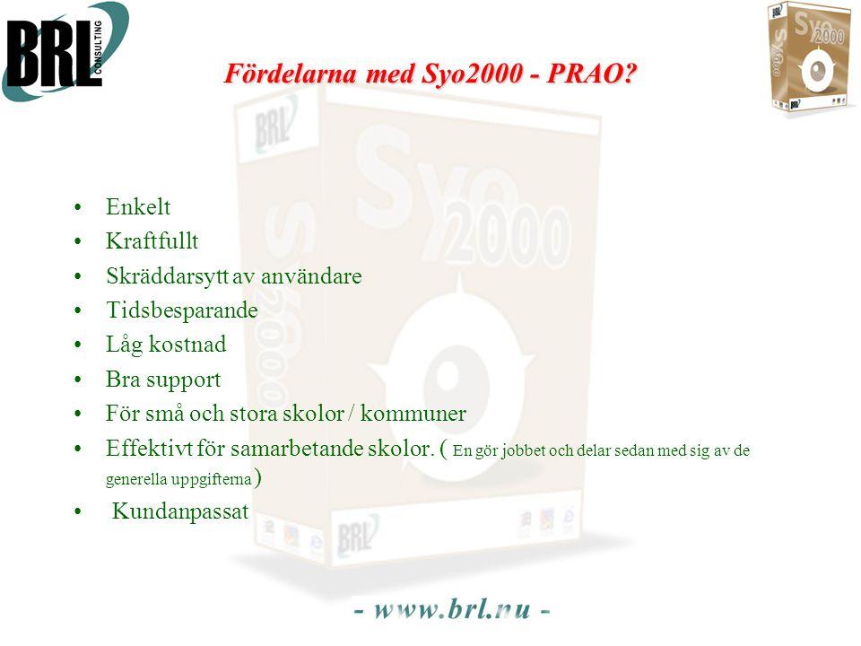 Fördelarna med Syo2000 - PRAO? •Enkelt •Kraftfullt •Skräddarsytt av användare •Tidsbesparande •Låg kostnad •Bra support •För små och stora skolor / ko
