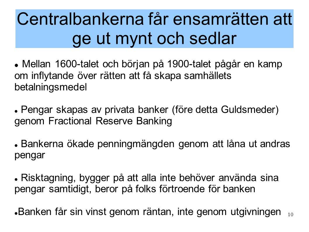 10 Centralbankerna får ensamrätten att ge ut mynt och sedlar  Mellan 1600-talet och början på 1900-talet pågår en kamp om inflytande över rätten att få skapa samhällets betalningsmedel  Pengar skapas av privata banker (före detta Guldsmeder) genom Fractional Reserve Banking  Bankerna ökade penningmängden genom att låna ut andras pengar  Risktagning, bygger på att alla inte behöver använda sina pengar samtidigt, beror på folks förtroende för banken  Banken får sin vinst genom räntan, inte genom utgivningen