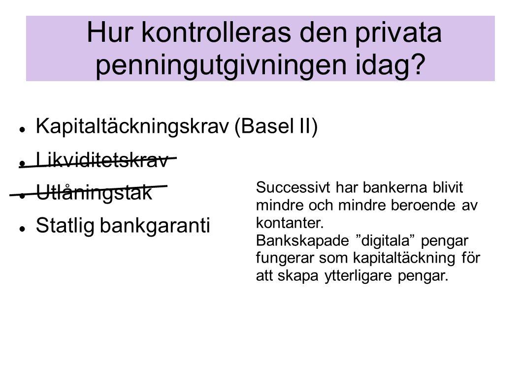 Hur kontrolleras den privata penningutgivningen idag?  Kapitaltäckningskrav (Basel II)  Likviditetskrav  Utlåningstak  Statlig bankgaranti Succes