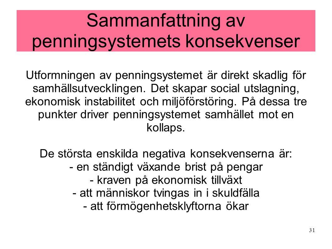 31 Sammanfattning av penningsystemets konsekvenser Utformningen av penningsystemet är direkt skadlig för samhällsutvecklingen. Det skapar social utsla