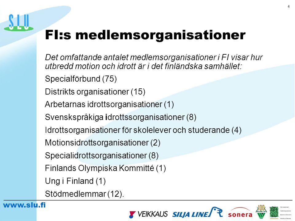 www.slu.fi 5 Finl ä ndsk motion och idrott fungerar På lokalnivån 7 800 motions- och idrottsföreningar eller andra lokala enheter På regional- och landskapsnivå distriktsorganisationer samt medlemsorganisationernas egna regionala organisationer På riksomfattande nivå riksomfattande medlemsorganisationer, FI:s styrelse, FI:s kansli och FI:s serviceenhet