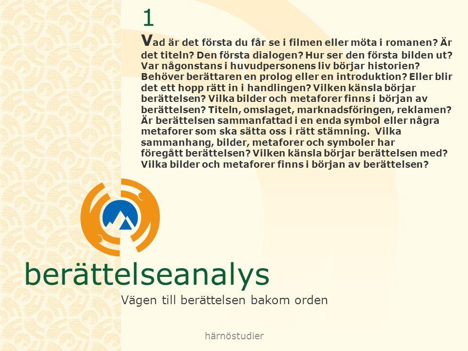 berättelseanalys Vägen till berättelsen bakom orden härnöstudier 2 H ur sätts historien i rullning.