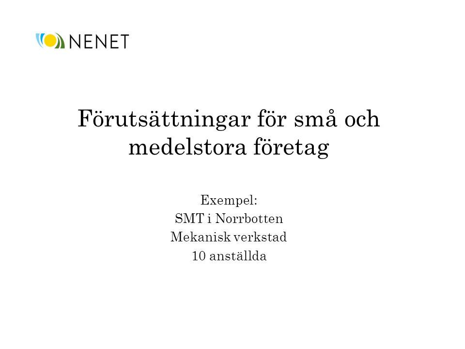 Förutsättningar för små och medelstora företag Exempel: SMT i Norrbotten Mekanisk verkstad 10 anställda