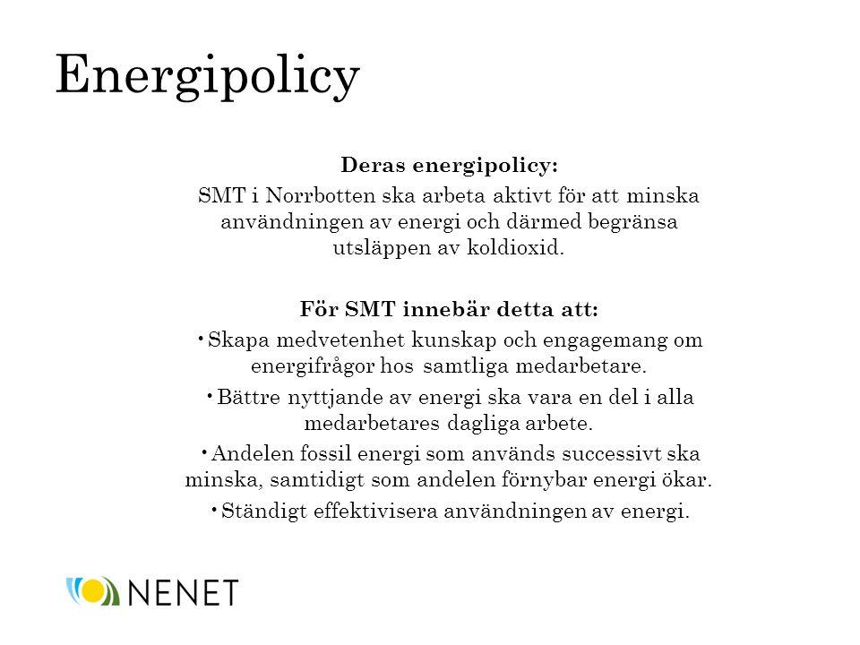 Energipolicy Deras energipolicy: SMT i Norrbotten ska arbeta aktivt för att minska användningen av energi och därmed begränsa utsläppen av koldioxid.