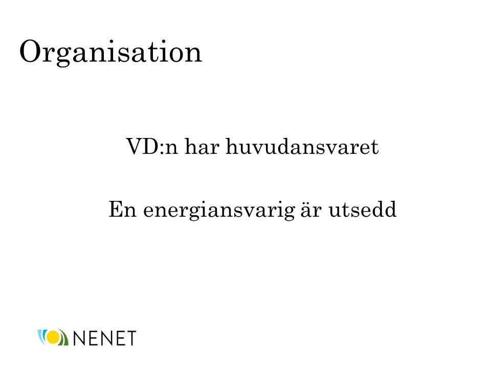 Organisation VD:n har huvudansvaret En energiansvarig är utsedd