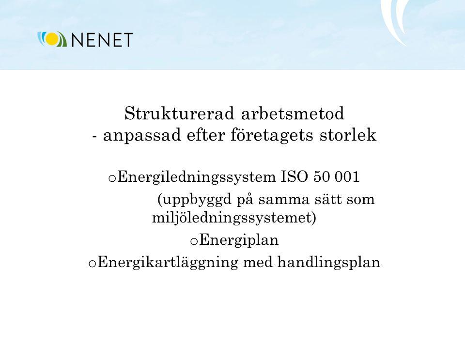 Strukturerad arbetsmetod - anpassad efter företagets storlek o Energiledningssystem ISO 50 001 (uppbyggd på samma sätt som miljöledningssystemet) o En