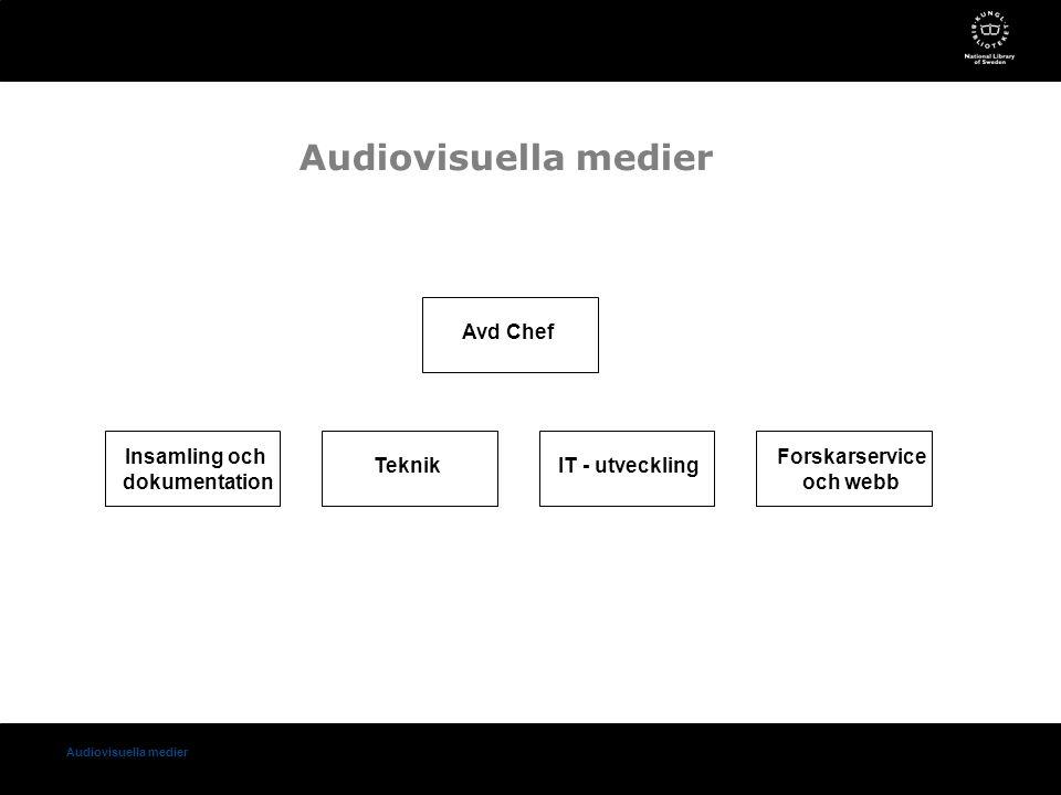 Audiovisuella medier Insamling och dokumentation TeknikIT - utveckling Forskarservice och webb Avd Chef Audiovisuella medier