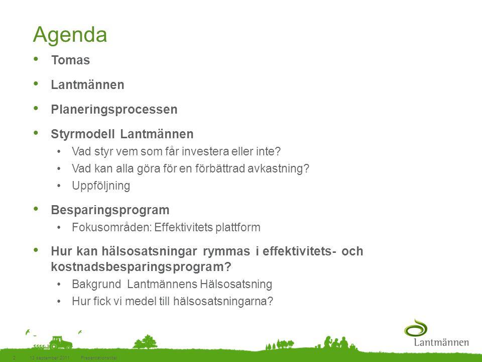 Landscape Agenda • Tomas • Lantmännen • Planeringsprocessen • Styrmodell Lantmännen •Vad styr vem som får investera eller inte? •Vad kan alla göra för