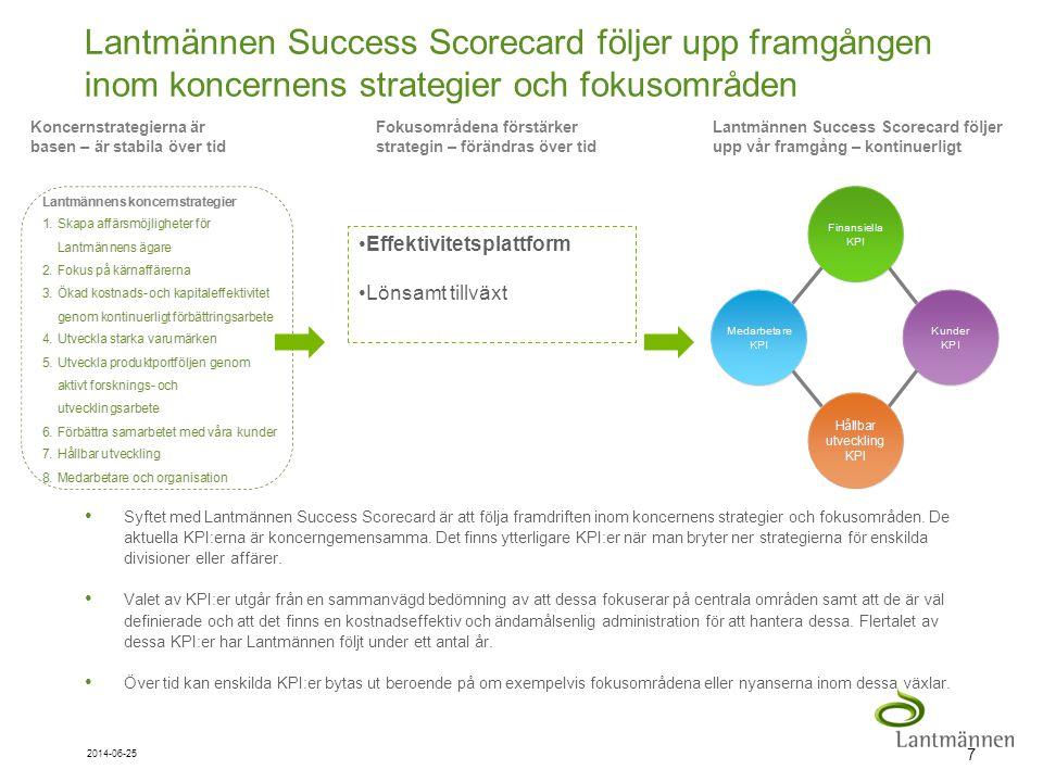 Landscape Lantmännen Success Scorecard följer upp framgången inom koncernens strategier och fokusområden 7 2014-06-25 • Syftet med Lantmännen Success