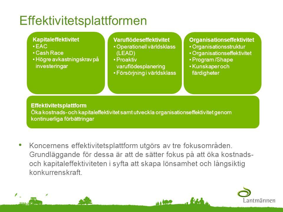 Landscape Effektivitetsplattformen • Koncernens effektivitetsplattform utgörs av tre fokusområden. Grundläggande för dessa är att de sätter fokus på a