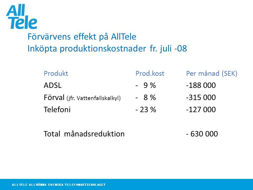 ALLTELE ALLMÄNNA SVENSKA TELEFONAKTIEBOLAGET Förvärvens effekt på AllTele Inköpta produktionskostnader fr. juli -08 ProduktProd.kostPer månad (SEK) AD