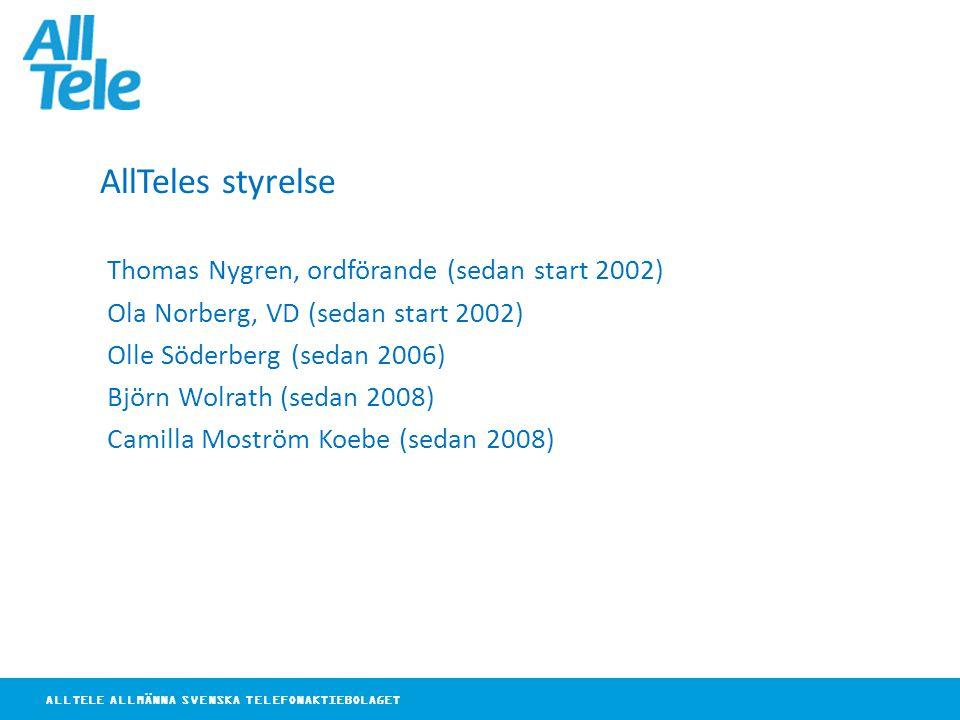 ALLTELE ALLMÄNNA SVENSKA TELEFONAKTIEBOLAGET AllTeles styrelse Thomas Nygren, ordförande (sedan start 2002) Ola Norberg, VD (sedan start 2002) Olle Sö