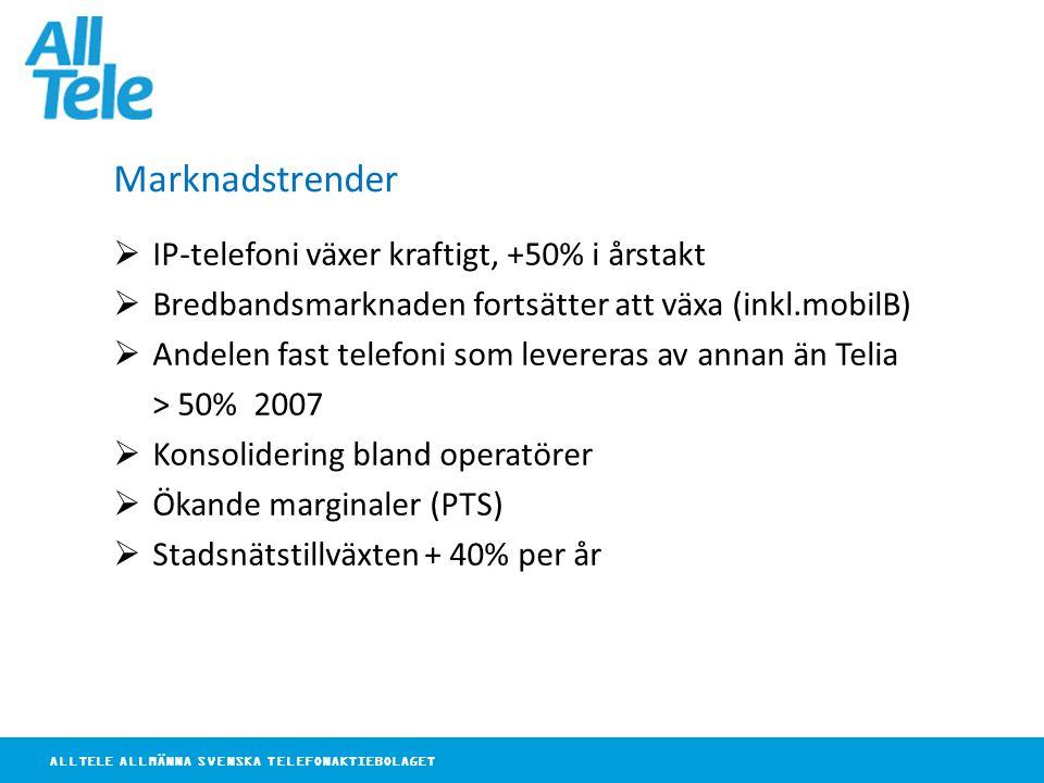 ALLTELE ALLMÄNNA SVENSKA TELEFONAKTIEBOLAGET Marknadstrender  IP-telefoni växer kraftigt, +50% i årstakt  Bredbandsmarknaden fortsätter att växa (inkl.mobilB)  Andelen fast telefoni som levereras av annan än Telia > 50% 2007  Konsolidering bland operatörer  Ökande marginaler (PTS)  Stadsnätstillväxten + 40% per år