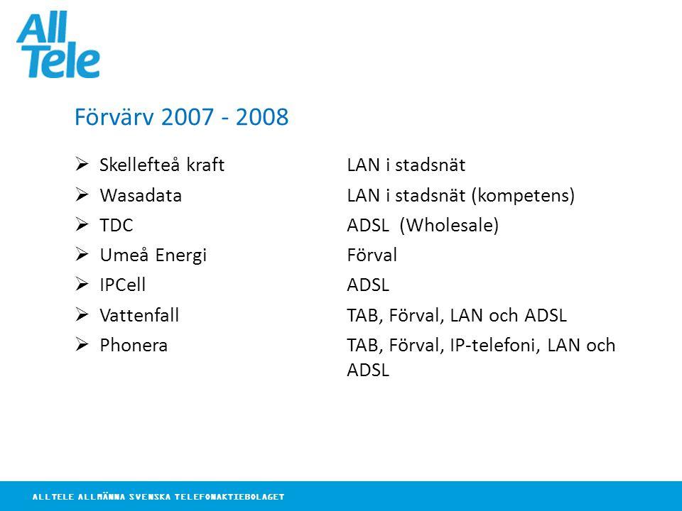 ALLTELE ALLMÄNNA SVENSKA TELEFONAKTIEBOLAGET Förvärv 2007 - 2008  Skellefteå kraft LAN i stadsnät  Wasadata LAN i stadsnät (kompetens)  TDCADSL (Wholesale)  Umeå EnergiFörval  IPCellADSL  VattenfallTAB, Förval, LAN och ADSL  PhoneraTAB, Förval, IP-telefoni, LAN och ADSL