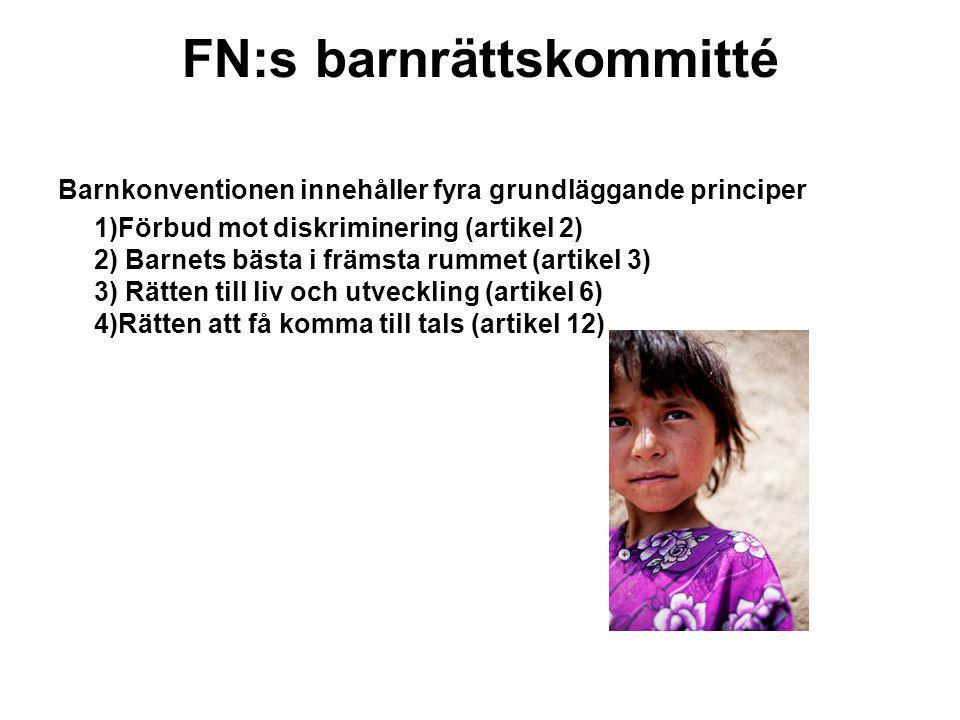 FN:s barnrättskommitté Barnkonventionen innehåller fyra grundläggande principer 1)Förbud mot diskriminering (artikel 2) 2) Barnets bästa i främsta rum