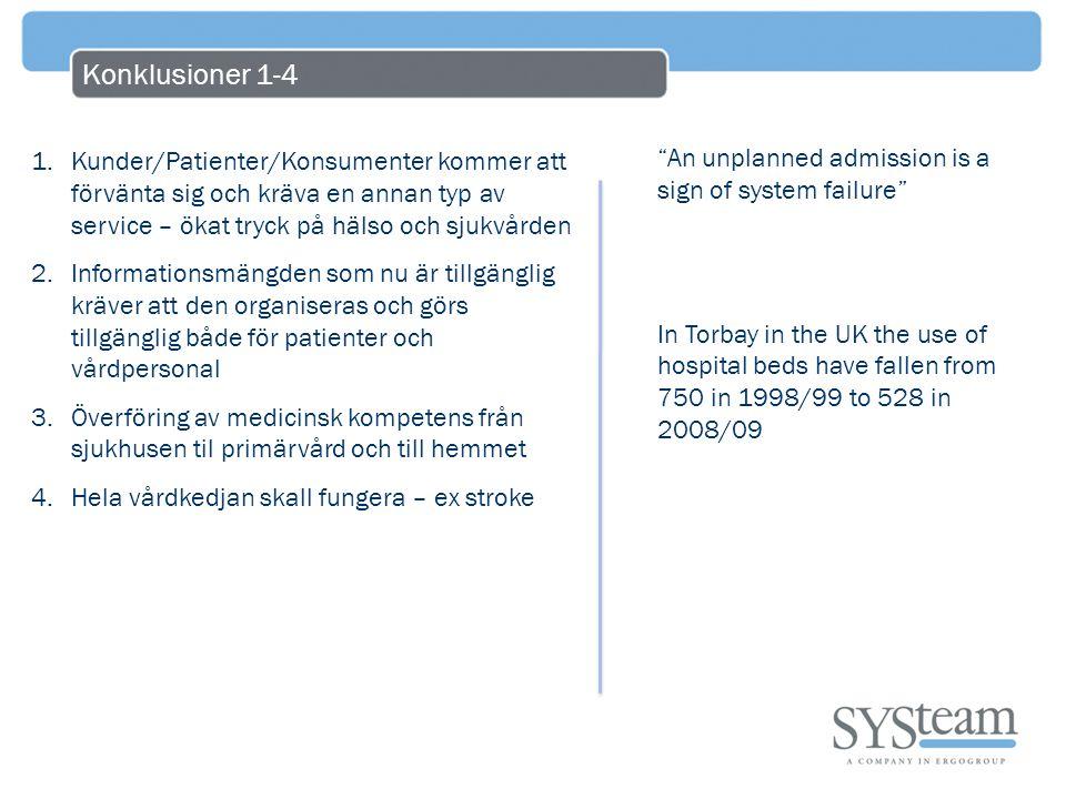 Konklusioner 1-4 1.Kunder/Patienter/Konsumenter kommer att förvänta sig och kräva en annan typ av service – ökat tryck på hälso och sjukvården 2.Infor