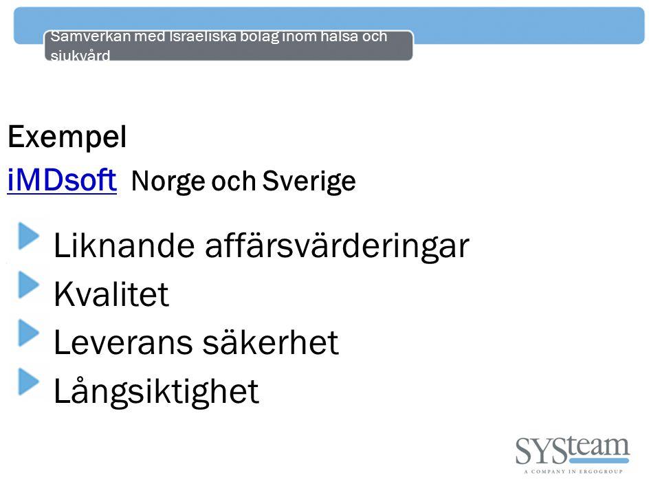 Samverkan med Israeliska bolag inom hälsa och sjukvård Exempel iMDsoft iMDsoft Norge och Sverige Liknande affärsvärderingar Kvalitet Leverans säkerhet